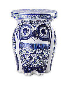 Bombay™ 10-in. Blue and White Owl Stool