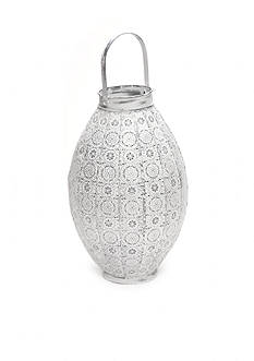 Elements 14.5-in. White Doily Lantern