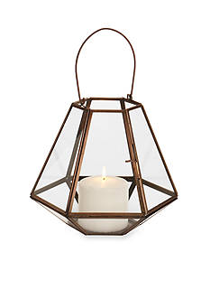 Elements 9-in. Geometric Copper Lantern