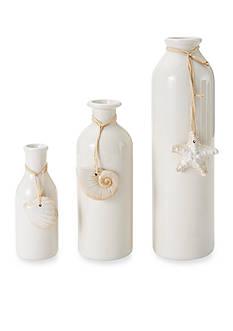 Elements 3-Piece Shell Ceramic Bottle Vase Set