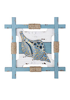Elements 17.75-in. Teal Conch Wood Wall Decor