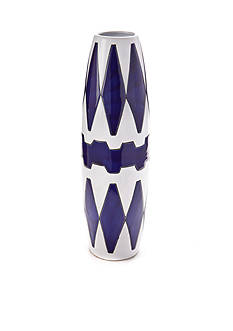 Bombay™ 19-in. Blue and White Diamond Ceramic Vase