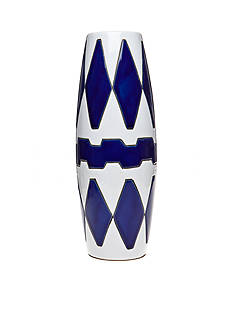 Bombay™ 14-in. Blue and White Diamond Ceramic Vase