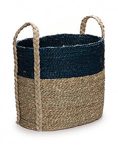 Elements 19-in. Navy Natural Seagrass Basket