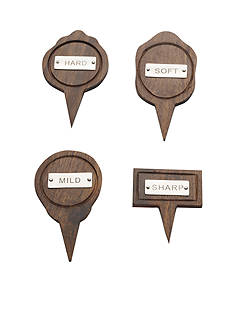 Bombay 4-Piece Wood Cheese Marker Set
