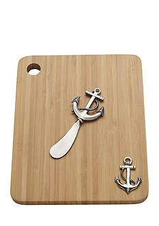 Bombay 2-Piece Anchor Cutting Board and Cheese Spreader Set