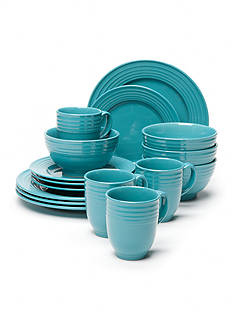 Home Accents Loft Turquoise 16-Piece Dinnerware Set