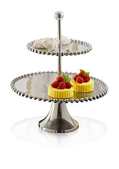 Biltmore Big Bead 2 Tier Silver Server