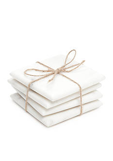 Biltmore Artisan Set of 4 White Marble Coasters