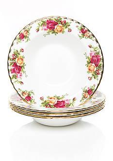 Royal Albert Old Country Rose Set of 4 Rim Soup Bowls