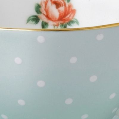Gold China: Vintage Polka Rose Royal Albert NCR 3PS TEA/SCSR/PLT