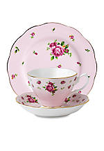 New Country Rose Vintage Pink 3-piece Tea, Saucer, & Plate Set