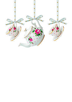Royal Albert New Country Pink Rose Set of 3 Ornament