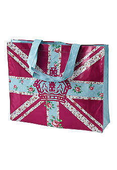 Royal Albert New Country Roses Vintage Plasticised Shopping Bag- Bright Union Jack