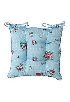 Royal Albert New Country Roses Vintage Reversible Single Seat Pad- Blue Dot Roses Buds