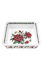 "Botanic Garden Deep Square Dish 10""- Rhododendron"