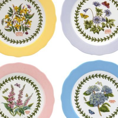 Portmeirion Dishes: Multi Portmeirion Botanic Garden Terrace Scalloped Edge Small Footed Cake Plate Pastel Pink