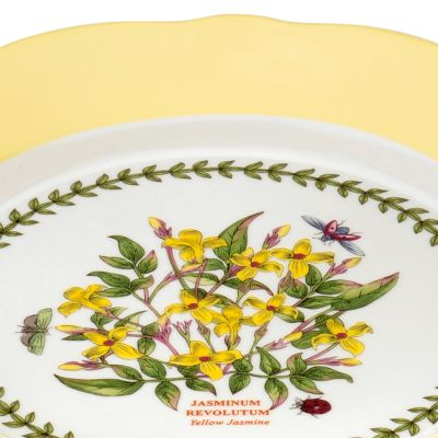 Portmeirion Dishes: Pastel Yellow Portmeirion Botanic Garden Terrace Scalloped Edge Small Footed Cake Plate Pastel Pink