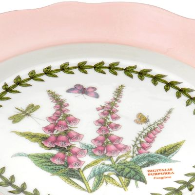 Portmeirion Dishes: Pastel Pink Portmeirion Botanic Garden Terrace Scalloped Edge Small Footed Cake Plate Pastel Pink