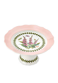 Portmeirion Botanic Garden Terrace Scalloped Edge Small Footed Cake Plate Pastel Pink