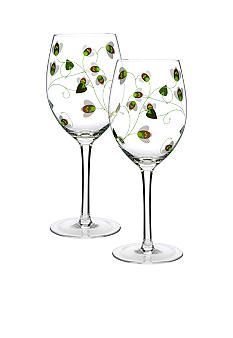 Luigi Bormioli Set of 2 Green All Purpose Wine Glasses - Online Only