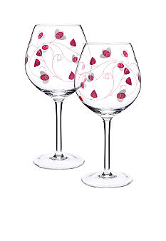 Luigi Bormioli Set of 2 Pink Balloon Wine Glasses - Online Only