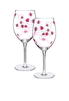 Luigi Bormioli Set of 2 Pink All Purpose Wine Glasses - Online Only