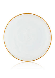 VIETRI Alabaster White with Gold Edge Dinner Plate