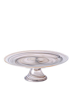 Vietri Alabaster Glass Taupe Footed Cake Stand