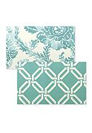 Vietri Aqua Abstract Floral/Aqua Greek Key Placemat