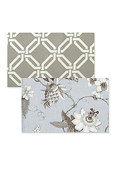 Vietri Taupe Greek Key / Light Blue Floral Placemat