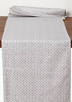 VIETRI Gray Abstract Dot Table Runner