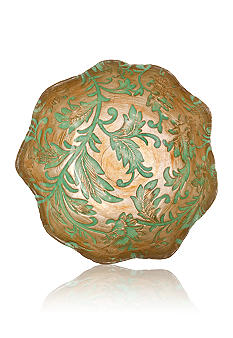 Vietri Damask Glass Aqua Dessert Bowl