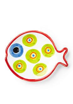 VIETRI Fish-Fish Green Circle Fish-Shaped Canape Plate