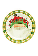 Old St. Nick Green Hat Santa Round Salad Plate 8.25-in.