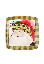 Old St. Nick Animal Hat Santa Square Salad Plate 8.25-in.