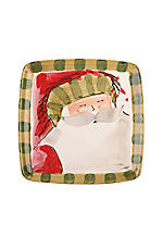 Old St. Nick Striped Hat Santa Square Salad Plate 8.25-in.