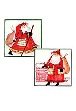 Old St. Nick Santa Set of 2 Square Trivets with Green Border 8-in. x 8-in.
