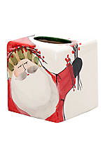 Old St. Nick Santa Tissue Box 5.25-in. x  5.25-in. x 5.75-in.