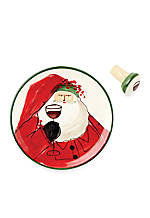 Old St. Nick Canape Plate with Cork Stopper 6.5-in. Dia.