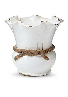 VIETRI Rustic Garden White Scalloped Cachepot with Rope
