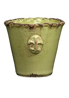 VIETRI Rustic Garden Mini Pistachio Fleur de Lys Cachepot