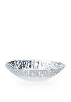 VIETRI Ruffle Glass Platinum Medium Oval Serving Bowl