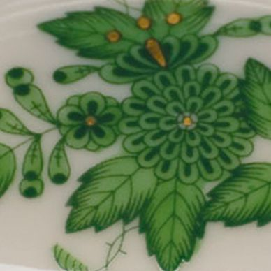 Decorative Accents: Green Herend 3.25-in. X 0.75-in. Mini Scalloped Dish