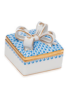 Herend Square Box with Bow - Blue