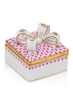 Herend Square Box with Bow - Raspberry
