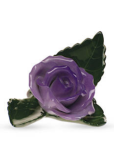 Herend Rose On Leaf Place Card Holder - Lavender