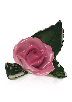 Herend Rose On Leaf Place Card Holder- Pink