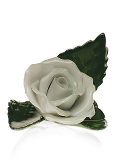 Herend Rose On Leaf Place Card Holder - White
