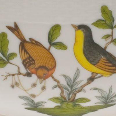 Designer Tabletop: Herend: Multi Herend Rothschild Bird 7.5-in. Round Bowl